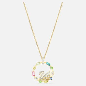 Rainbow Swan Necklace, Multicolored, Gold-tone plated