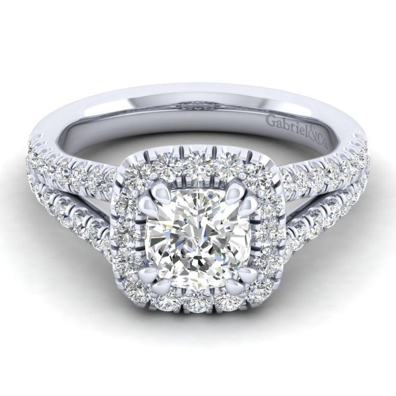 Gabriel  14K White Gold Cushion Halo Diamond Engagement Ring