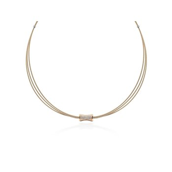 Carnation Cable Eclipse Necklace with 18kt Rose Gold & Diamonds