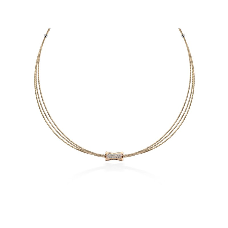ALOR Carnation Cable Eclipse Necklace with 18kt Rose Gold & Diamonds