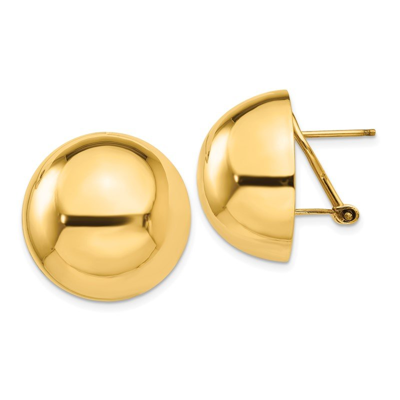 Quality Gold 14k Polished Half Ball Omega Back Post Earrings