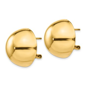 14k Polished Half Ball Omega Back Post Earrings