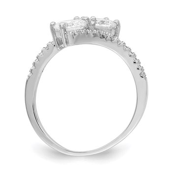 Sterling Silver Rhodium-plated CZ Two Stone Round Bypass Ring