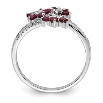 Sterling Silver Rhodium-plated 3 Flower Ruby and Diamond Ring