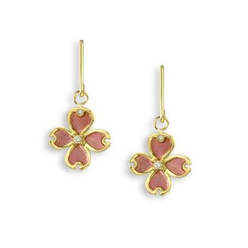 Pink Dogwood Wire Earrings.18K -Diamonds - Plique-a-Jour