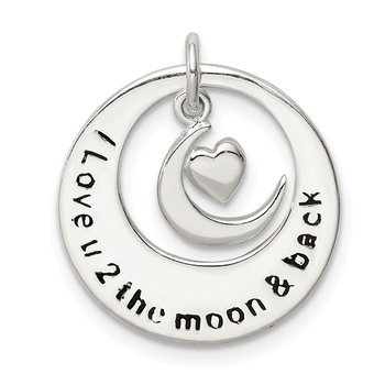 Sterling Silver Enamel I LOVE YOU TO THE MOON AND BACK Pendant