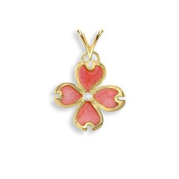 Pink Dogwood Pendant.18K -Diamond - Plique-a-Jour