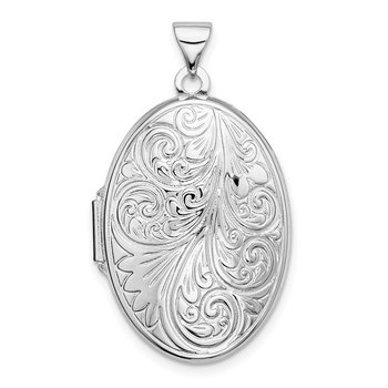 Sterling Silver Rhodium-plated Scroll Oval Locket