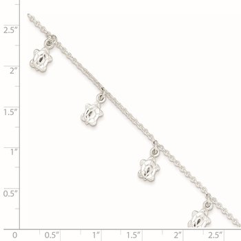 Sterling Silver Polished Turtle 9in Plus 1in Ext. Anklet