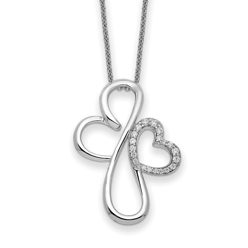 Quality Gold Sterling Silver & CZ Everlasting Love 18in Necklace