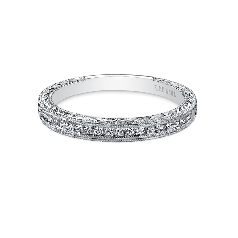 Engraved Milgrain Diamond Wedding Band