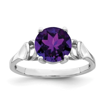 14k White Gold 8mm Amethyst ring