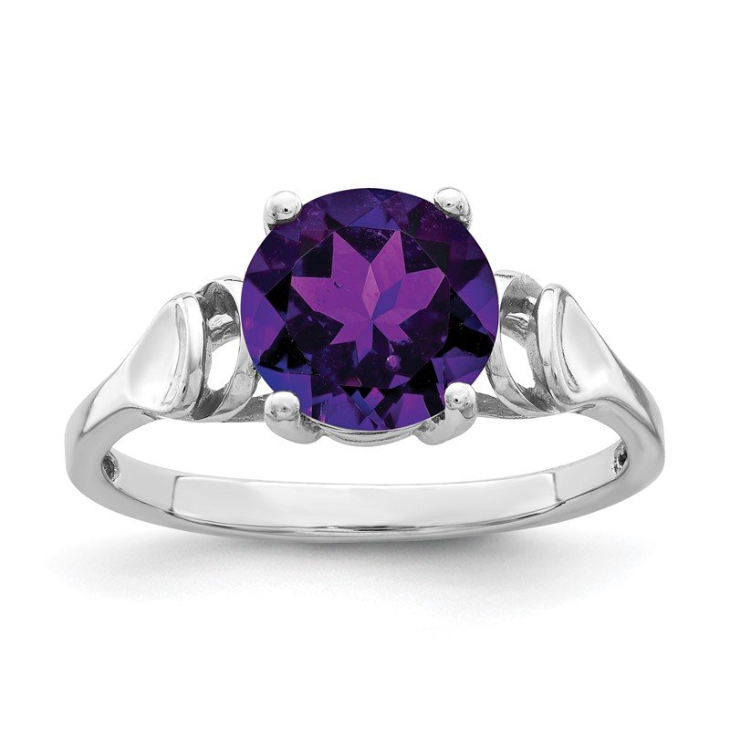 Quality Gold 14k White Gold 8mm Amethyst ring