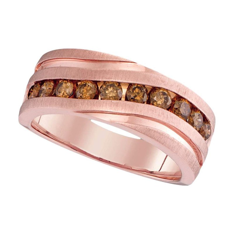 Gold-N-Diamonds, Inc. (Atlanta) 10kt Rose Gold Mens Round Diamond Wedding Single Row Grooved Band Ring 1.00 Cttw