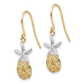 14k & Rhodium Starfish w/Sand Dollar Shepherd Hook Earrings
