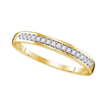 10kt Yellow Gold Womens Round Diamond Wedding Band Ring 1/10 Cttw