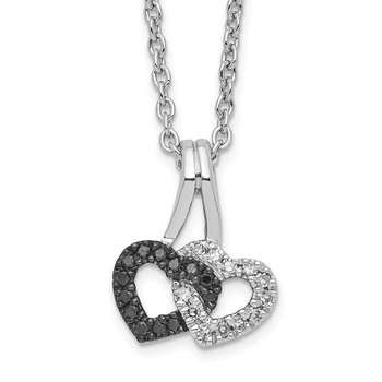 Sterling Silver Rhod Plated Black & White Diamond Double Heart Pendant Neck