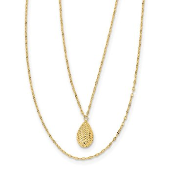 14k Diamond-cut Teardrop 2-Strand w/2in Ext. Necklace