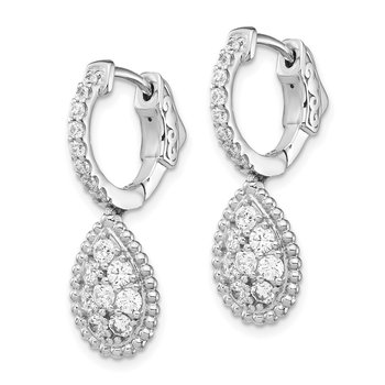Sterling Silver CZ Teardrop Dangle Hinged Earrings