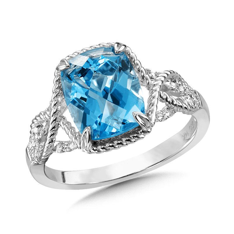 Colore Oro Blue Topaz & Diamond Ring in 14K White Gold