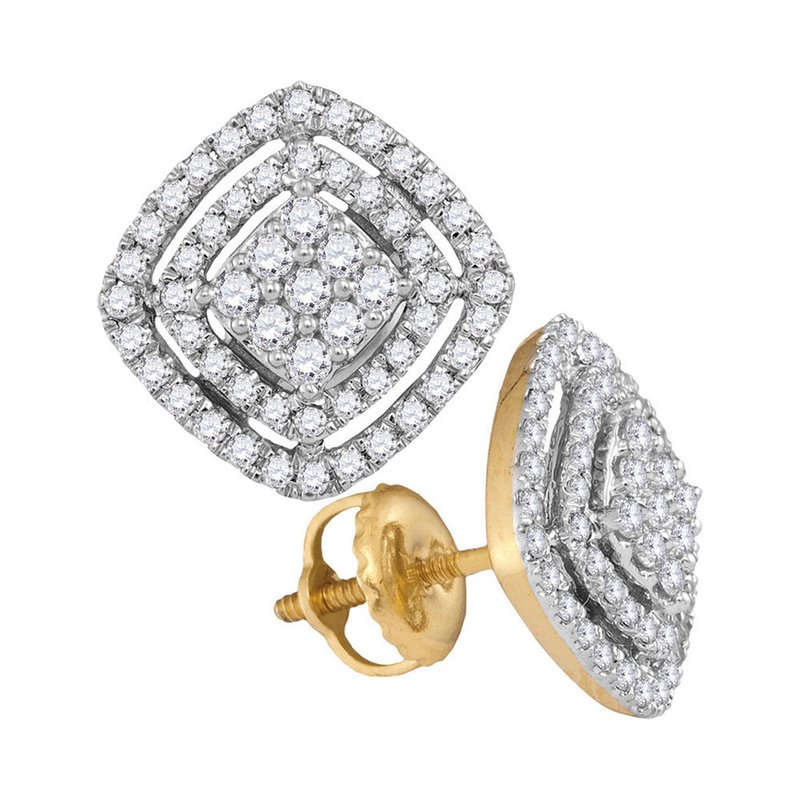 Gold-N-Diamonds 14kt Yellow Gold Womens Round Diamond Square Frame Cluster Earrings 1/2 Cttw