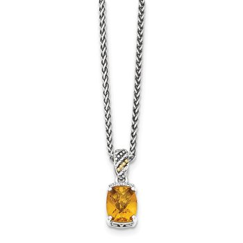 Sterling Silver w/14k Diamond and Citrine Necklace