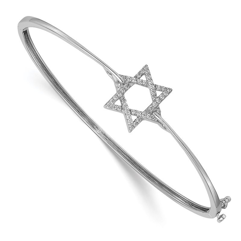 Quality Gold 14k White Gold Diamond Star of David Hinged Bangle
