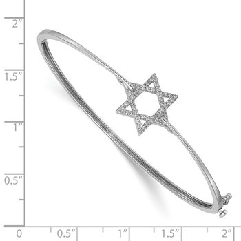 14k White Gold Diamond Star of David Hinged Bangle