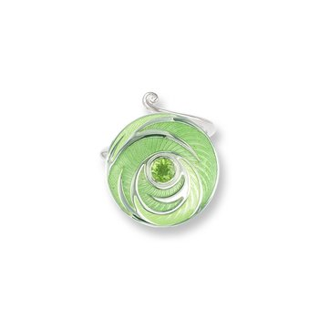 Green Round Ring.Sterling Silver-Peridot