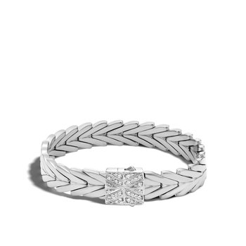 Modern Chain 11MM Bracelet in Silver with Diamonds