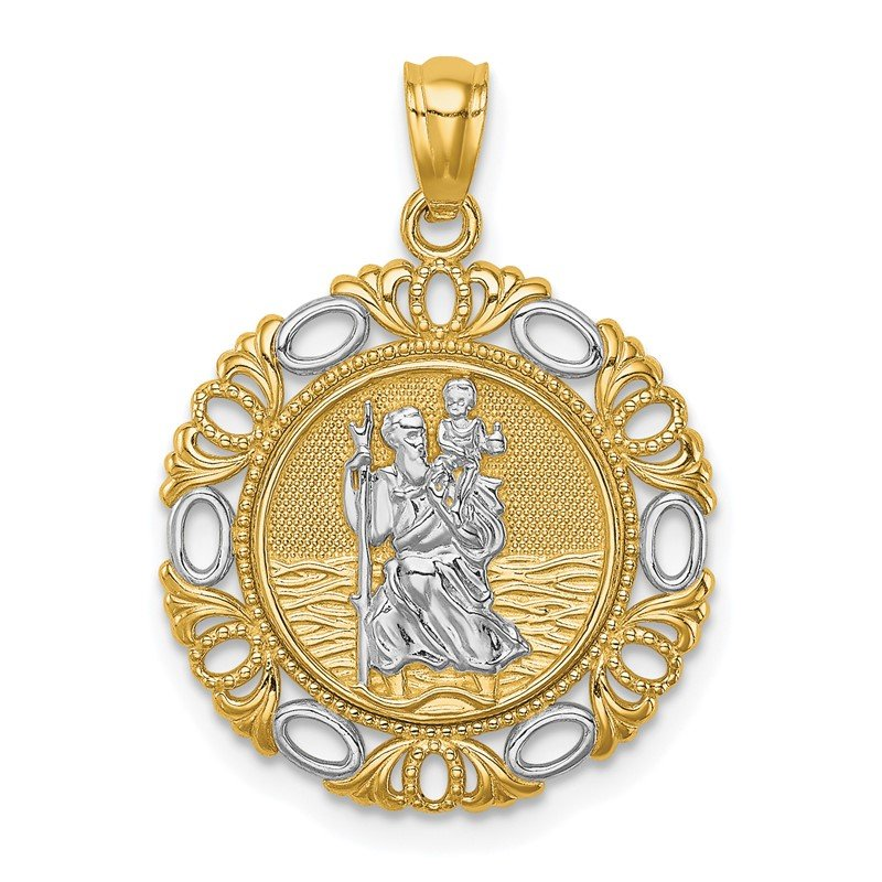 Quality Gold 14K w/ Rhodium St. Christopher Medal