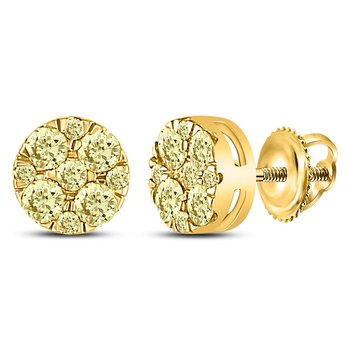 14kt Yellow Gold Womens Round Yellow Diamond Cluster Earrings 1/2 Cttw