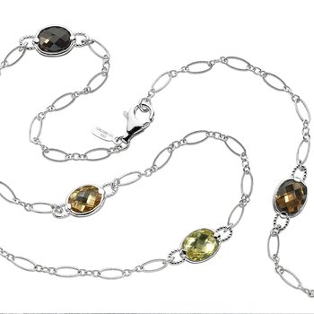 Sterling Silver Colore by the Yard necklace in honey citrine, lemon quartz, citrine, and smoky quartz.