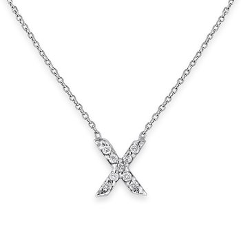 Diamond Bitty Block Initial X Necklace