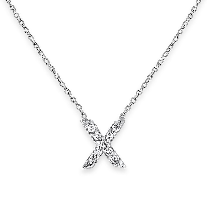 KC Designs Diamond Bitty Block Initial X Necklace