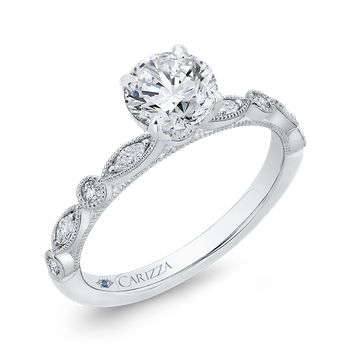Round Diamond Engagement Ring In 14K White Gold (Semi-Mount)