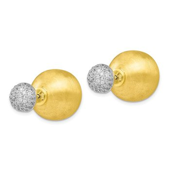 Leslie's Sterling Silver Gold-tone CZ Front Back Earrings