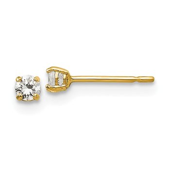 14k Madi K 2.5mm Round CZ Basket Set Stud Earrings
