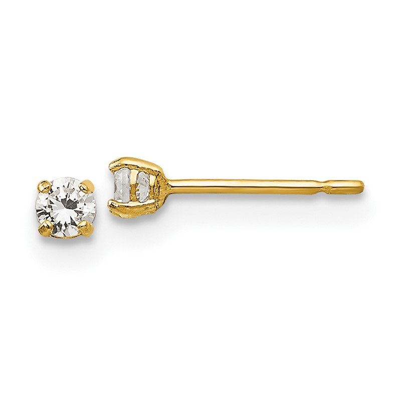 Quality Gold 14k Madi K 2.5mm Round CZ Basket Set Stud Earrings