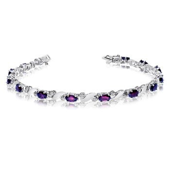 14k White Gold Natural Amethyst And Diamond Tennis Bracelet