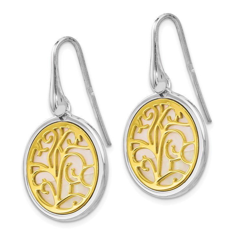 Leslie's Leslie's Sterling Silver Gold-tone Mother of Pearl Dangle Earrings