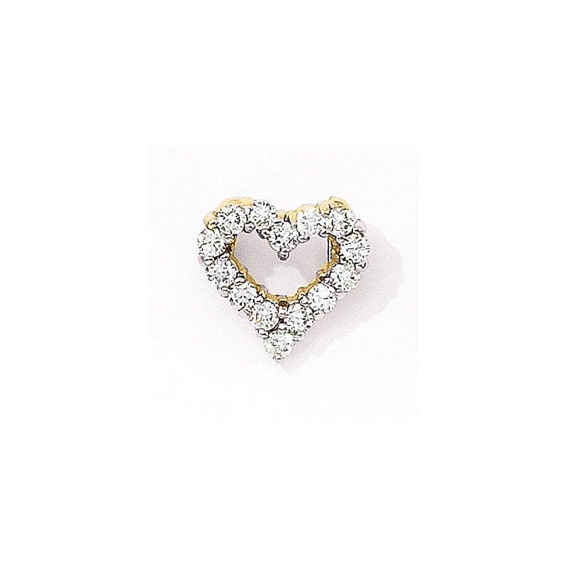 Color Merchants 14K Yellow Gold Diamond Heart Pendant