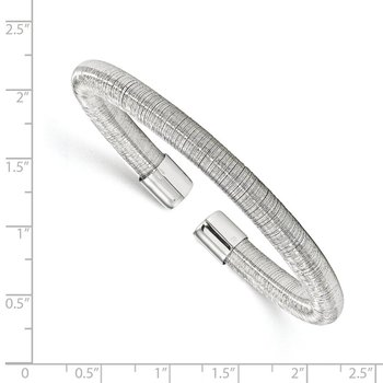 Leslie's Sterling Silver Rhodium-plated Cuff Bangle