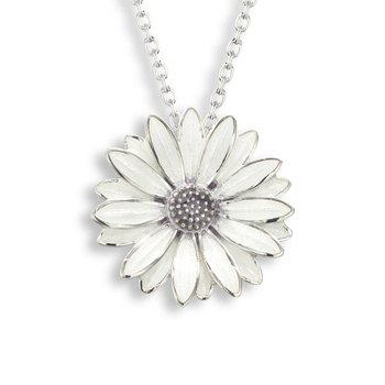 White African Daisy Necklace.Sterling Silver
