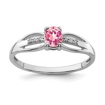 Sterling Silver Rhod-plated Diamond Pink Tourmaline Ring