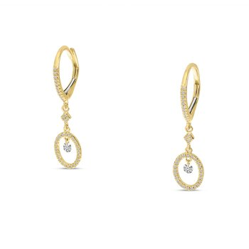 14K Yellow Gold Round Hanging Diamond Earrings