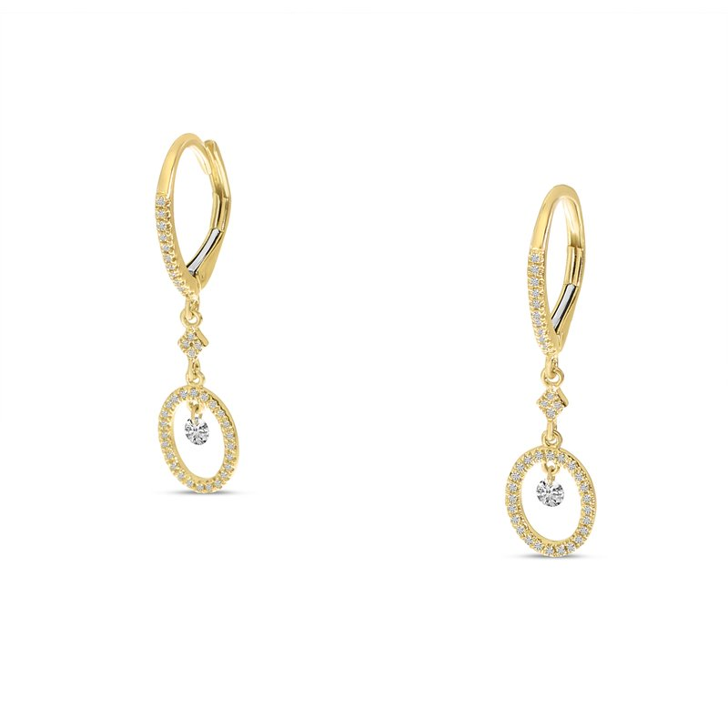 Color Merchants 14K Yellow Gold Round Hanging Diamond Earrings