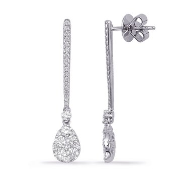 White Gold Diamond Fashion Earring