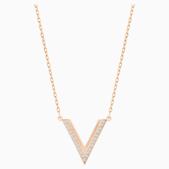 Delta Necklace, White, Rose-gold tone plated