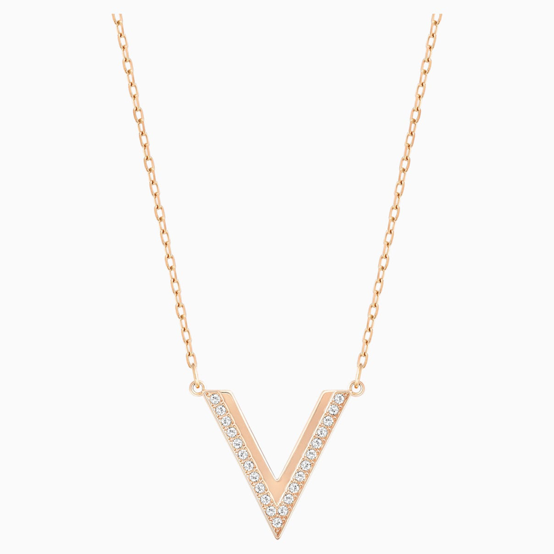Swarovski Delta Necklace, White, Rose-gold tone plated